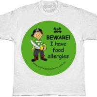 Kids allergy alert t-shirt Pirate allergy alert tshirt
