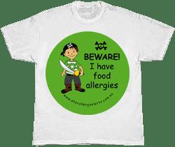 Kids allergy alert t-shirt Pirate allergy alert tshirt